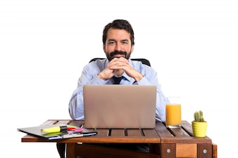 Businessman working with his office