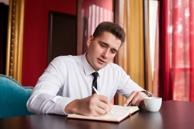 Businessman works with documents
