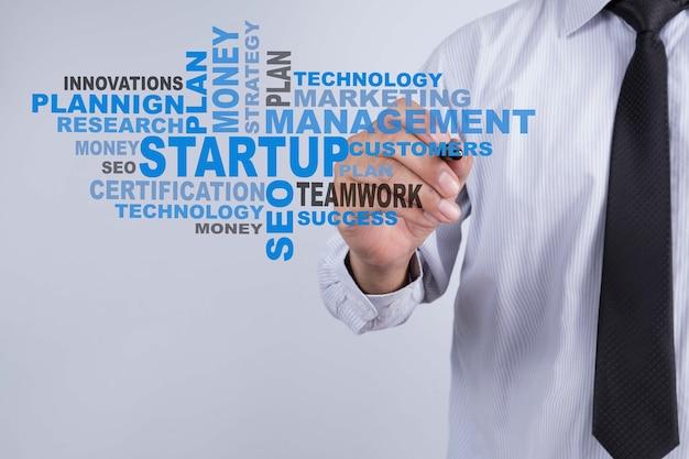 ビジネスマンはスタートアップワードを書いています。スタートアップの技術とビジネスコンセプト。