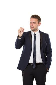 Businessman writing into virtual screen