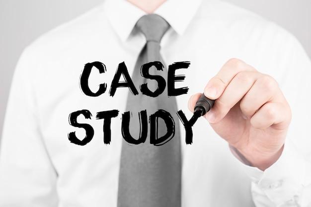 ビジネスコンセプトマーカー、ビジネスコンセプトで単語ケーススタディを書くビジネス