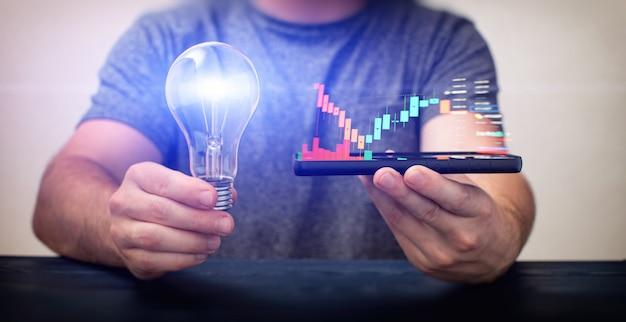 사업가는 전화와 전구, 아이디어에 대한 투자, 신생 기업에 대한 투자를 들고 있습니다. 주식 및 암호화폐 투자, 시장 차트