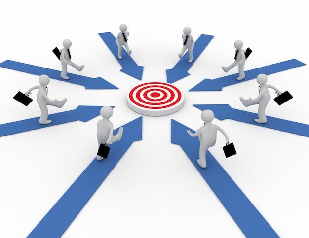 ビジネスマンは中央のターゲットを指す矢印で走っています。 3dレンダリングされたイラスト
