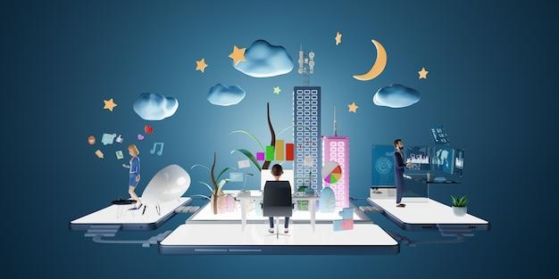 Персонажи бизнесменов, использующие компьютер в виртуальном офисе с интеллектуальной платформой данных. бизнес-концепция маркетинга. 3d-рендеринг.