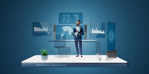 투명 태블릿 pc 컴퓨터 및 가상 스크린 프로젝션을 사용하는 기업인 캐릭터. 미래 기술 비즈니스 마케팅 개념. 3d 렌더링.