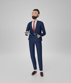 Персонажи бизнесменов, работающие с прозрачным планшетным компьютером. изолированный. 3d-рендеринг.