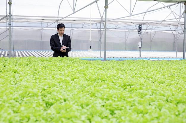 기업인은 유기농 채소의 품질 보고서를 검토하고 기록합니다.