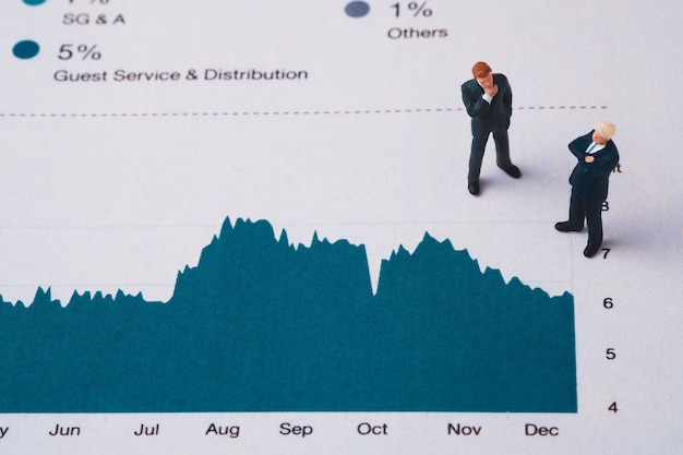 Businessmen miniature figure standing on investment and profit graph for analysis and discussion.