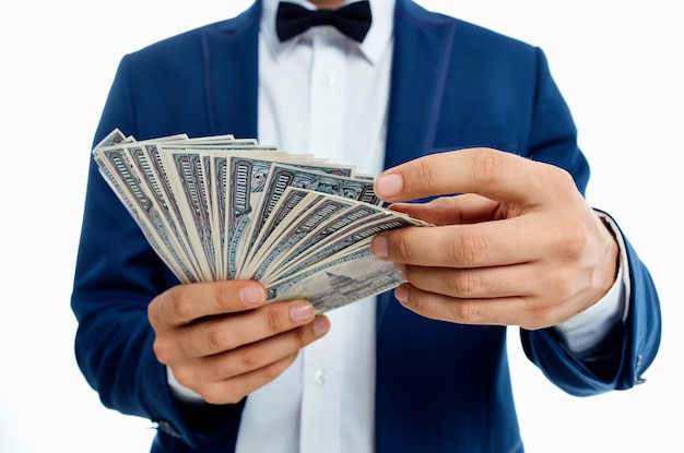 Businessmen money in hand isolated background. high quality photo