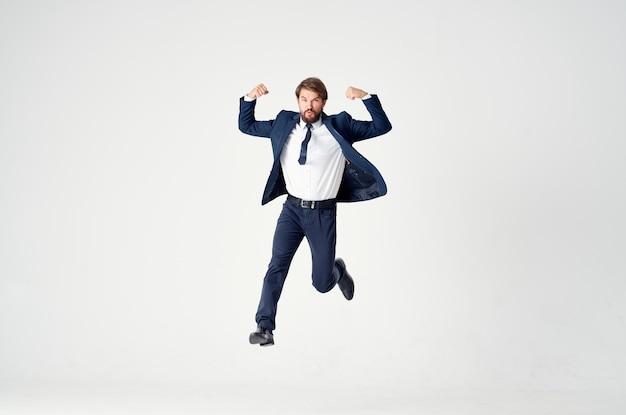 Businessmen movement jump light background