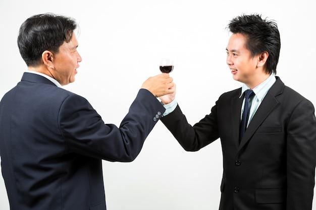 Businessmen wit wine