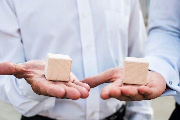 Businessmen with cubes on palms