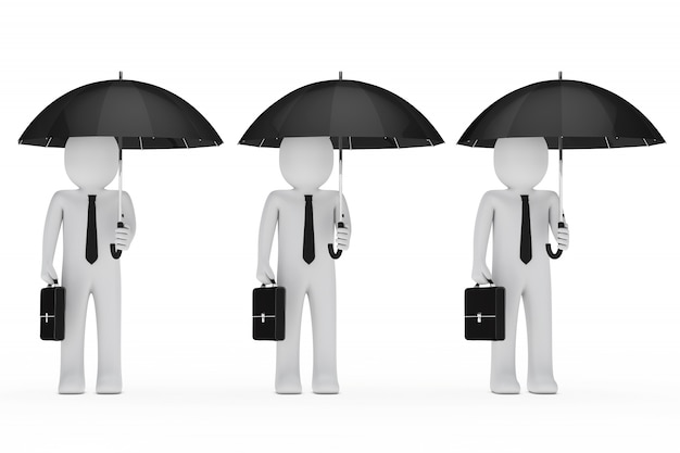 Businessmen with umbrellas and briefcases