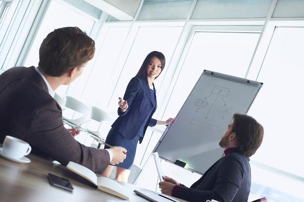 Бизнесмены в офисе, работая вместе, женщина задает вопрос