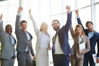 Businesspeople celebrating success