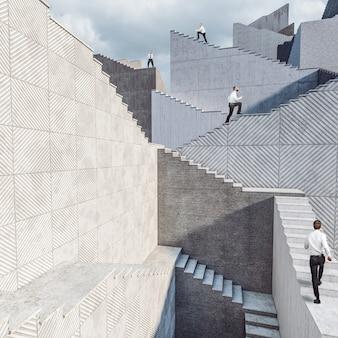 コンクリートの階段に座っているビジネスマン。願望、成功、達成の概念。