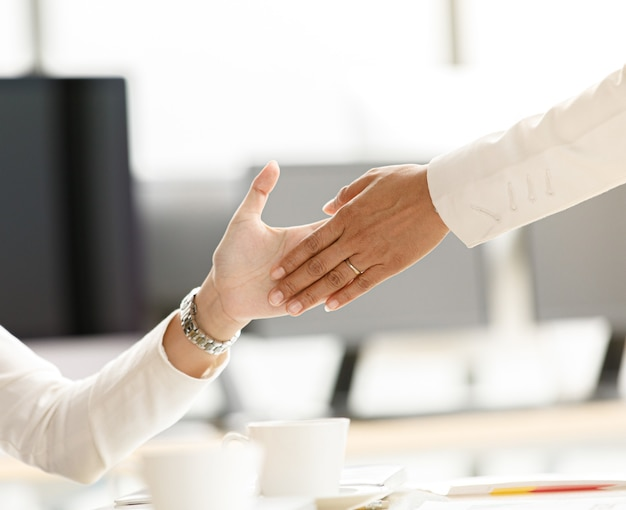 Businesspeople walking through into office passed row of businesswomen sitting clapping hands and do high-five touch hand palm with everyone. idea for happy emotion with success and beloved teamwork.
