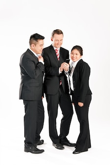 Businesspeople with smart phone