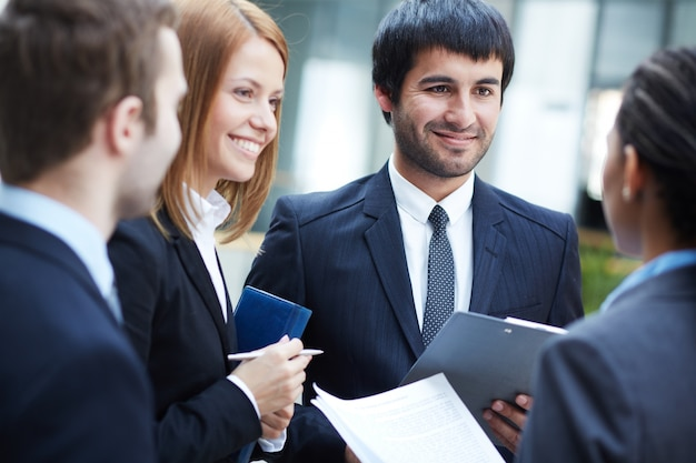 Businesspeople working as a team