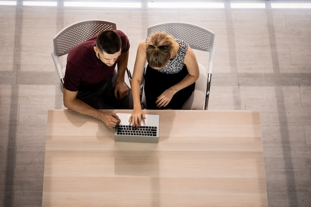 Businesspeople working together on the table in office