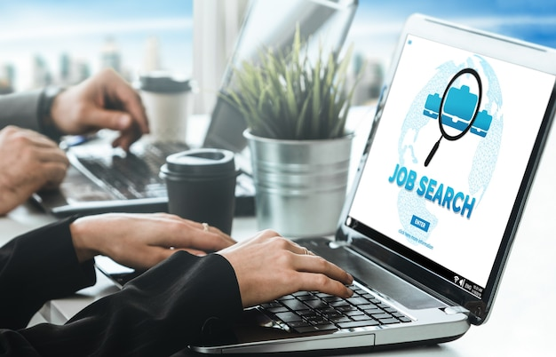 Businessperson search for job on internet