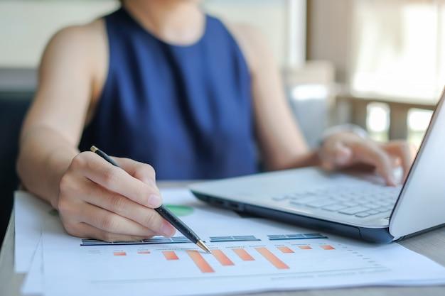 Businesswoman analysis maketing plan