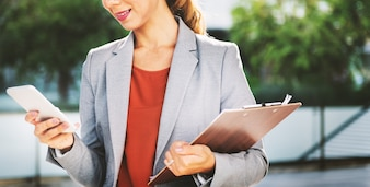 Businesswoman Attractive Finding Hunting Concept