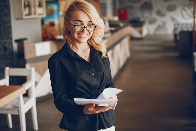 Businesswoman in a caffe