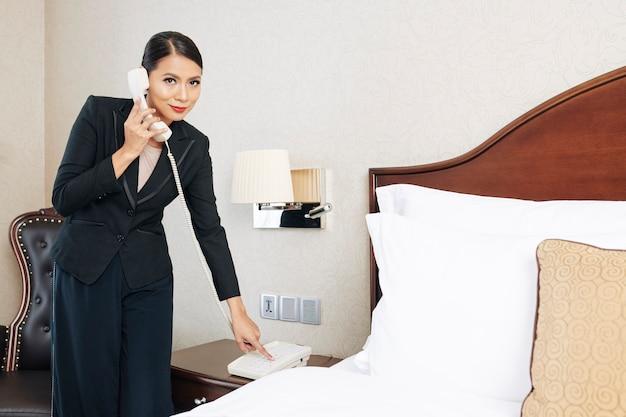 Businesswoman call on reception