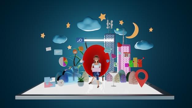 Персонажи-бизнесмены, сидящие в кресле для яиц с ноутбуком в ночное время. абстрактное понятие цифрового образа жизни с социальными медиа и значком маркетинга. 3d-рендеринг.