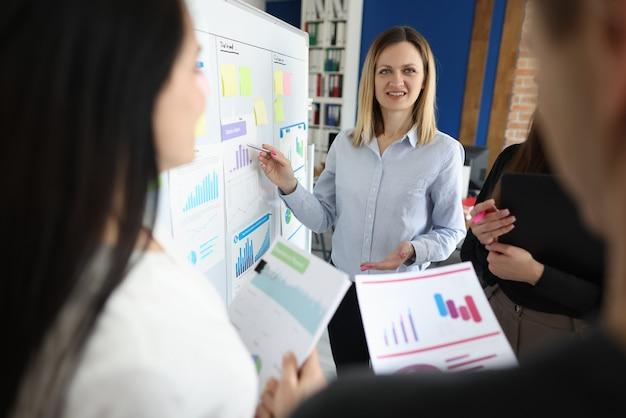 Деловая женщина проводит обучающий семинар для коллег крупным планом