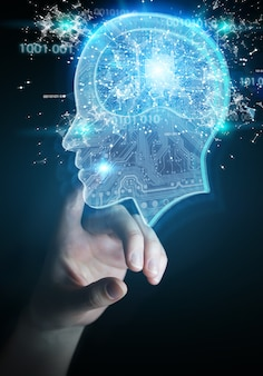 Businesswoman creating artificial intelligence