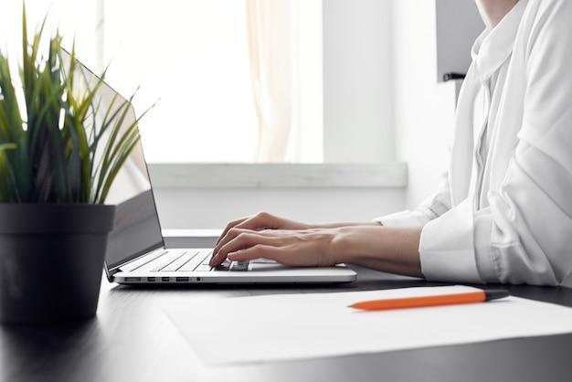 Businesswoman documents professional job light background