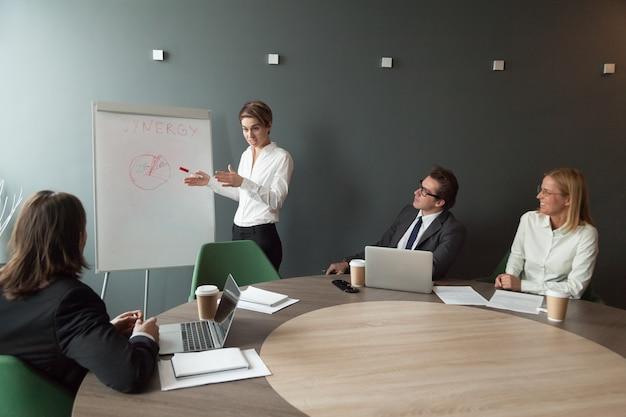 Коммерсантка давая представление результатов маркетинговых исследований на тренинге дела
