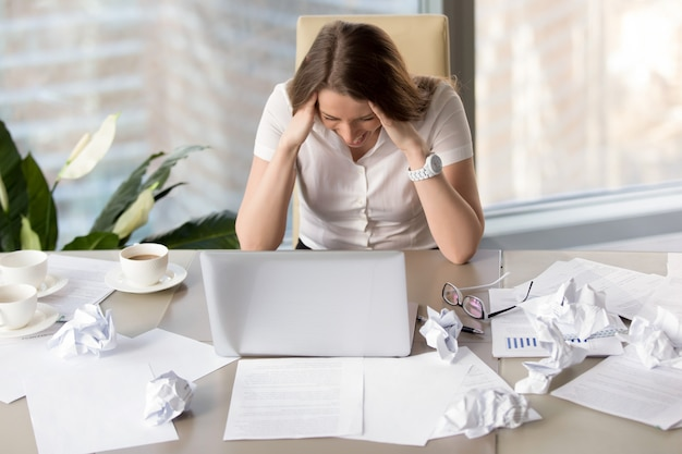 Businesswoman goes mad because of missing deadline