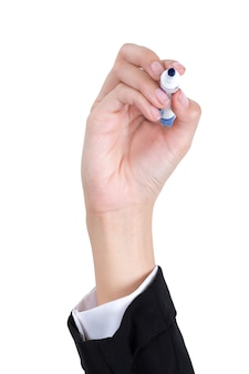 Businesswoman hand holding a pen for writing isolated on white