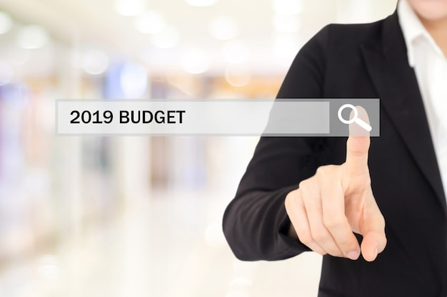 Businesswoman hand touching 2019 budget on search bar over blur office background