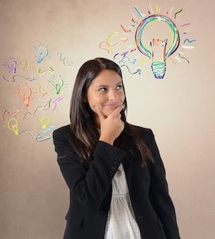 実業家は彼女の仕事のアイデアを持っています