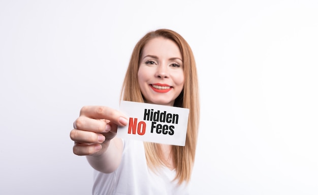A businesswoman holding a business card with the words