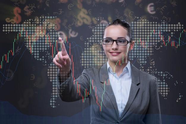 グラフのビジネスコンセプトの女性実業家