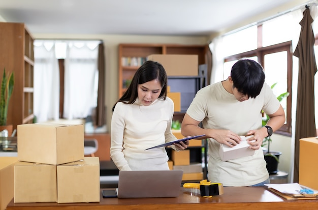 Businesswoman and man working from home