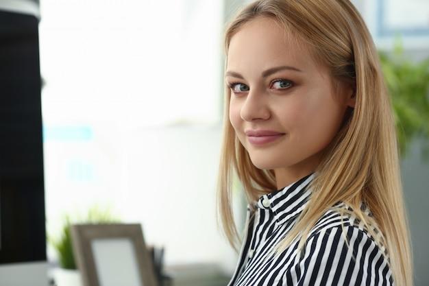 Businesswoman offfice portrait. business education concept