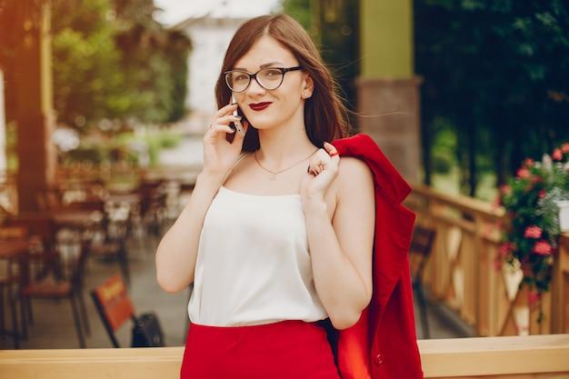 Businesswoman in a park