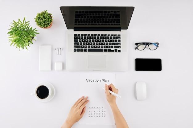 Businesswoman planning vacation