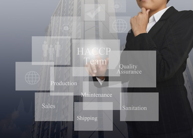 Businesswoman pointing element of haccp team .