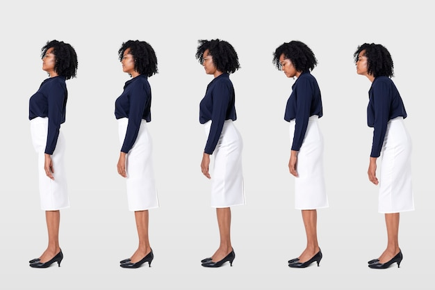 Businesswoman poor posture office syndrome workplace health campaign