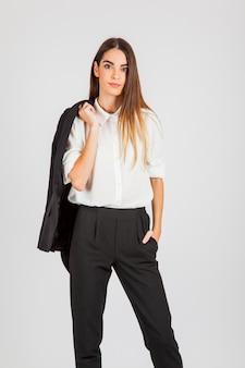 Businesswoman posing after work
