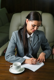 Businesswoman on private jet