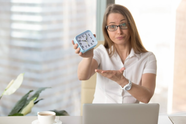 Businesswoman scolding for being late to work
