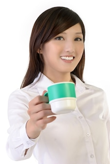 Businesswoman share a cup of coffee, closeup portrait of oriental office lady.